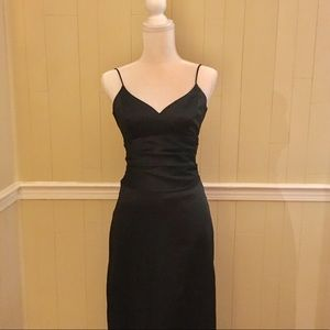 Nicole Miller Sz 2 long Black Satin Evening Gown
